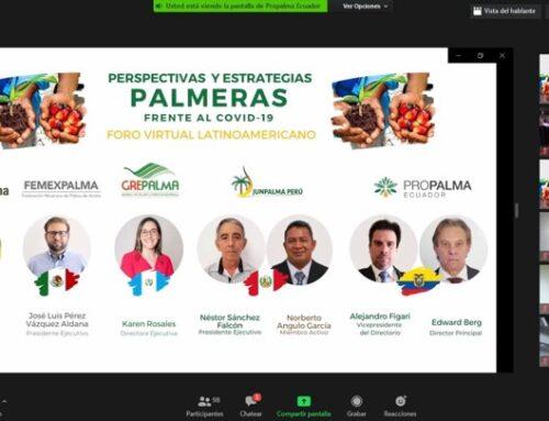 """Participación en el Foro virtual """"Perspectivas y Estrategias Palmeras frente al COVID-19"""", organizado por Propalma, Ecuador."""
